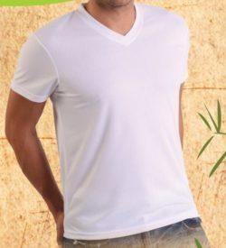 Bamboe heren t-shirt V-hals zwart