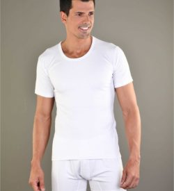 Bamboe heren t-shirt ronde hals wit